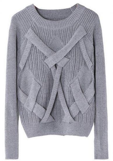 Grey Reglan Sleeve Cross Bandage Vertical Stripe Knitting Sweater - Sheinside.com