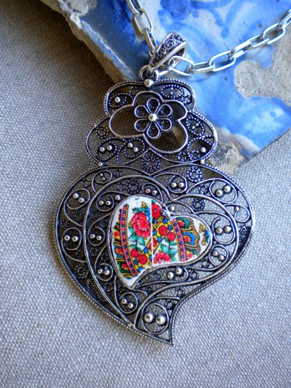 Portugal  Folklore Scarf in Heart of Viana necklace