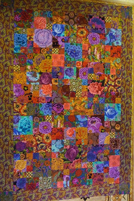 Tapestry Garden quilt top  Finally finished my first ever quilt top - took a class with Kaffe Fassett and this is what happened! It still needs some batting and a back and to be quilted together into something usable, but so far so good!