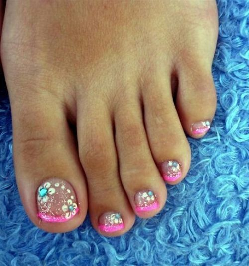 pictures of toe nail designs for summer with floral patterns and glitters