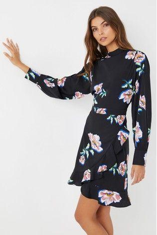 023f1d194378 Boohoo Floral Wrap High Neck Dress | Next | Wrap Dress, High Neck ...