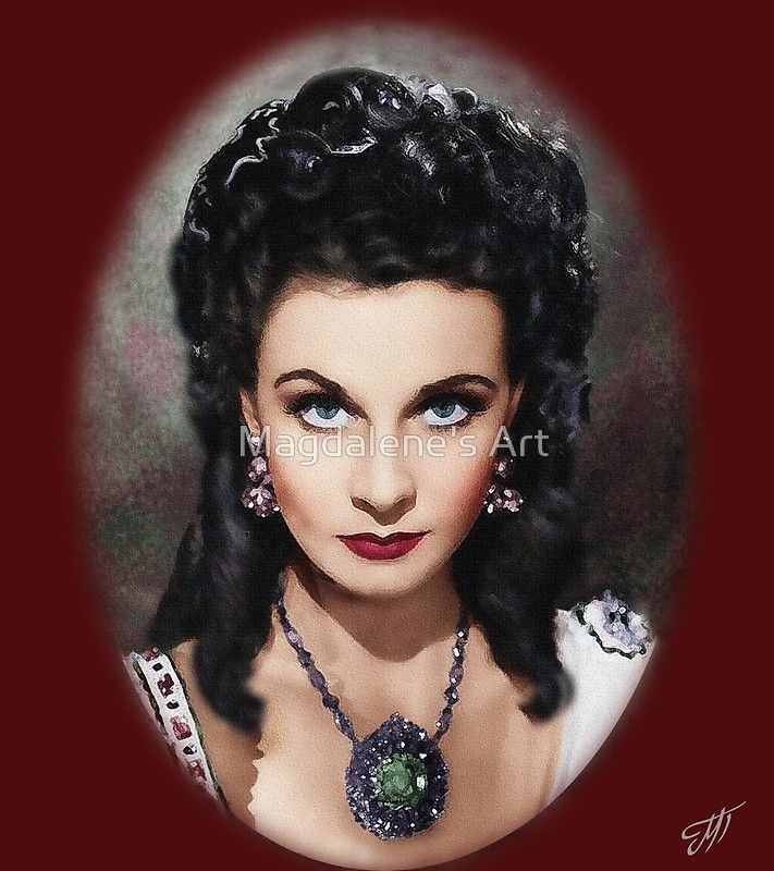 Portrait of Vivien Leigh by Magdalene's Art printed on apparel, pillows, phone cases, etc