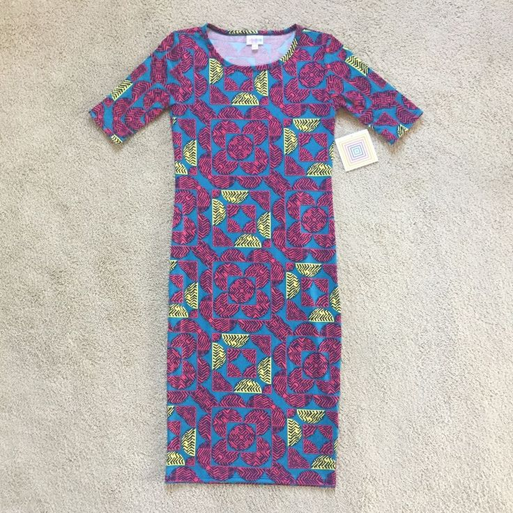 NEW LulaRoe Women s Dress XXS Julia Print Blue Pink Yellow Unicorn geometric
