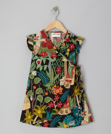 Take a look at this Black Tropical Frida Wrap Top - Toddler & Girls by Mixed Up Clothing on #zulily today!