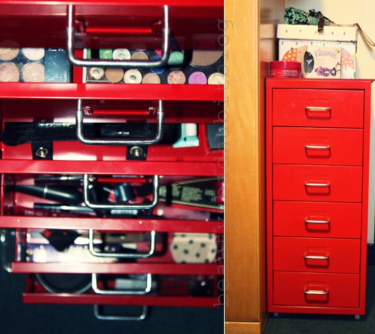 Makeup Storage In The IKEA Helmer. Http://beautysbadhabitblog.blogspot.co