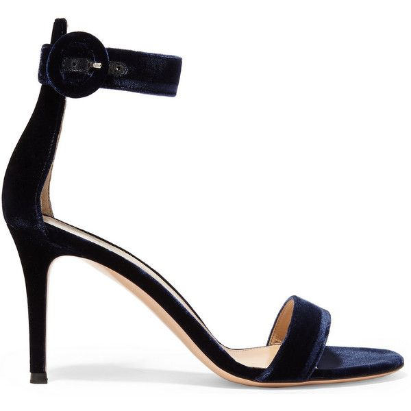 Gianvito Rossi Portofino velvet sandals (€550) ❤ liked on Polyvore featuring shoes, sandals, heels, strap sandals, strappy heeled sandals, navy blue sandals, navy strappy sandals and ankle strap high heel sandals