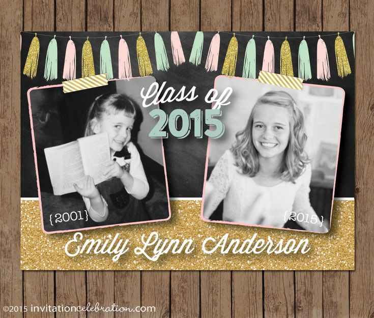 graduation announcement or invitation 2 photos then and now double sided mint pink - Photo Graduation Invitations