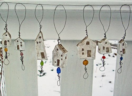 tiny house dangles with wire and beads by LolliePatchouli,
