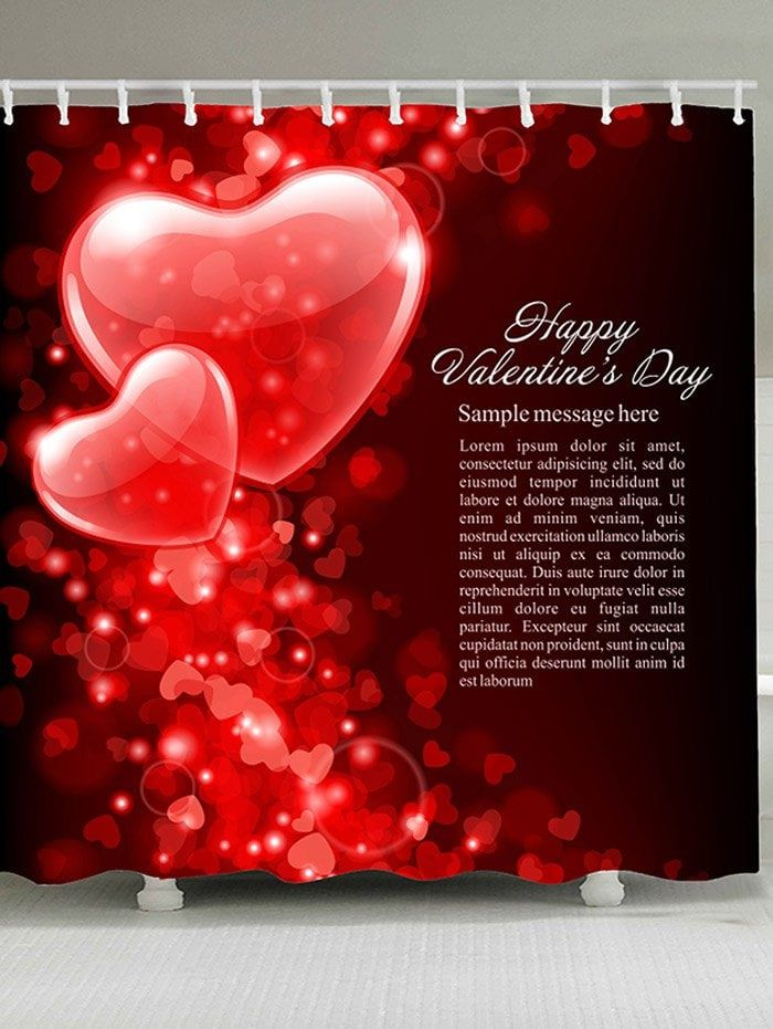 Valentine S Day Hearts Printed Shower Curtain Valentines Day