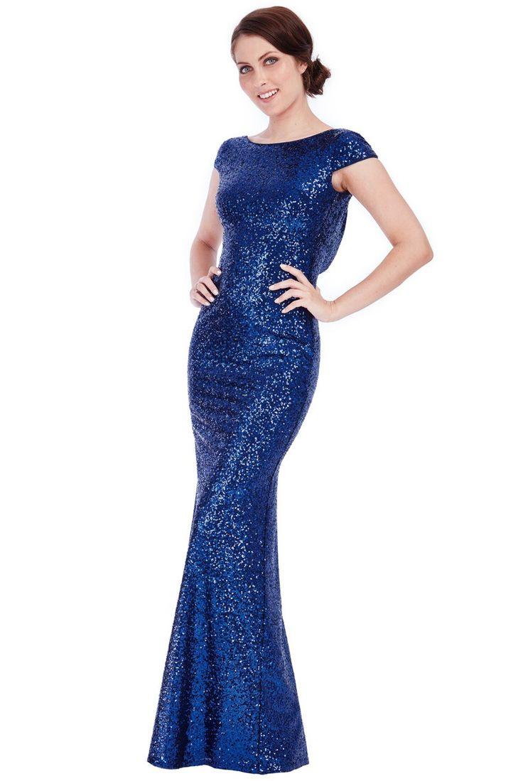 Open Back Sequin Maxi Dress – Navy – Front – DR592