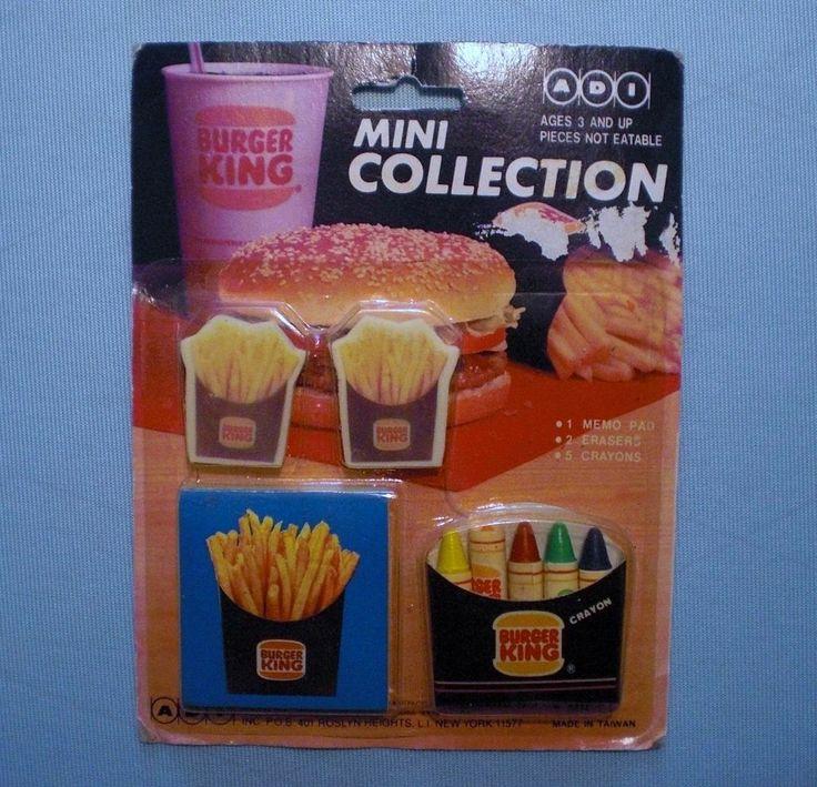 Burger King 1988 Crayon, Memo Pad, Erasers Collection MOC (see note) #BurgerKing