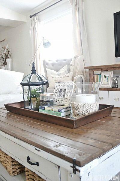 DIY boot tray to coffee table organizer - lizmarieblog.com