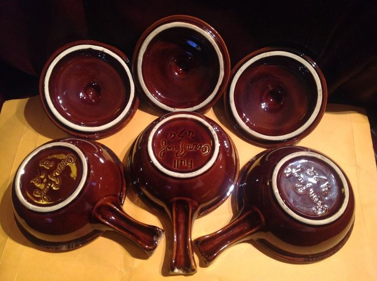 THREE Onion SOUP BOWLS with LIDS HULL CRESTONE BROWN DRIP handles OVEN PROOF USA #HullUSA