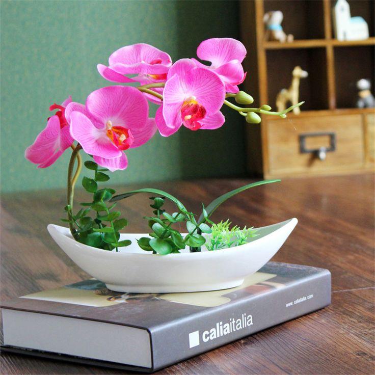 Искусственный цветок фаленопсис с керамический горшок шелковый цветок орхидеи небольшой бонсай обеденный стол декор пластиковые цветок для домашнего декора купить на AliExpress