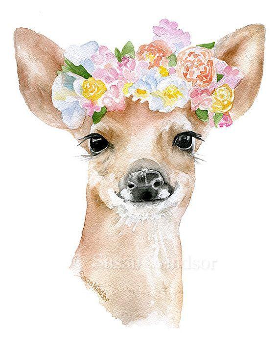 Deer Flowers Ist Ein Giclee Print Aus Meinem Original Aquarell