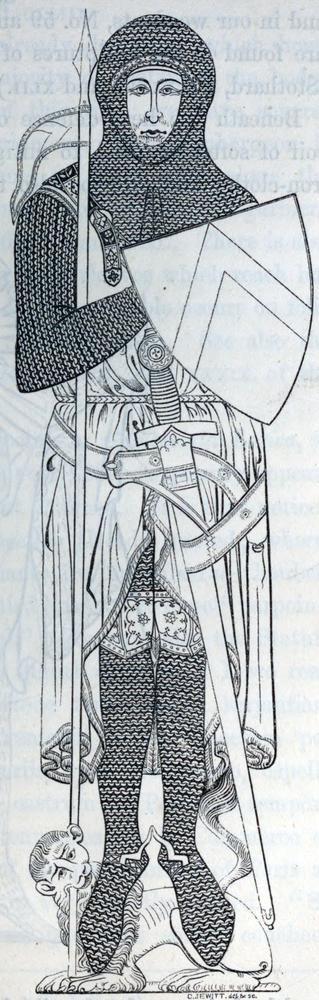 1277 - John d'Abernon - Ginocchiello decorato e cintura intrecciata
