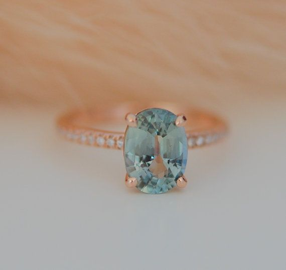 Teal sapphire engagement ring. 2.01ct blue green oval sapphire diamond ring. 14k Rose gold engagement ring. Solitaire Engagement rings.