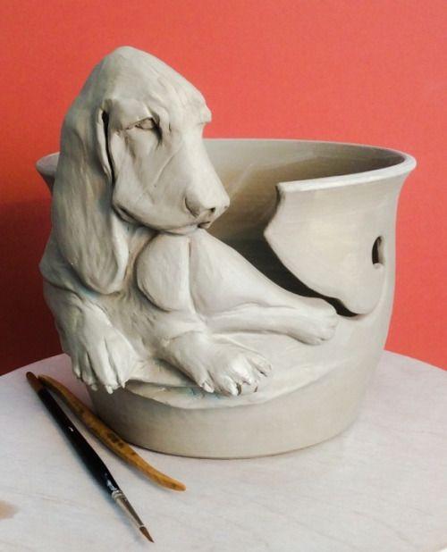 Basset Hound yarn bowl. Unfired. Custom order. Enquiries to earthwoolfire@gmail.com