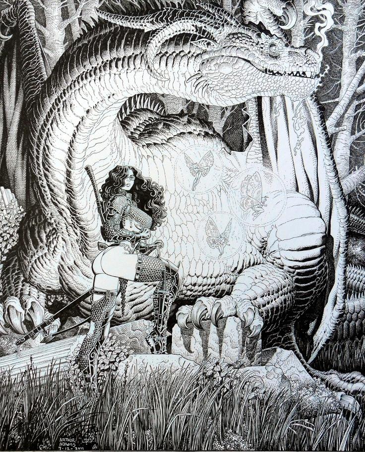 Arthur Adams Dragonwarrior Cover Comic Art