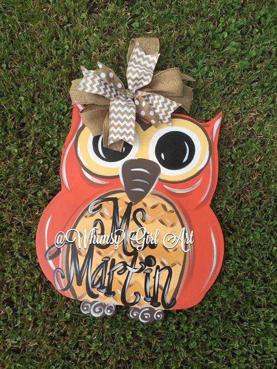 Fall Owl Door Hanger by WhimsyGirlArt on Etsy