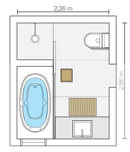 Projekt mniejszej łazienki, zajmującej ok. 6,5m/2. Pokazuje jak idealnie ułożyć wannę, prysznic, umywalkę oraz toaletę.