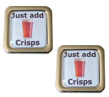 Beer Cufflinks - Just Add Crisps - Get down the pub, get a pint snag a bag of crisps - relax