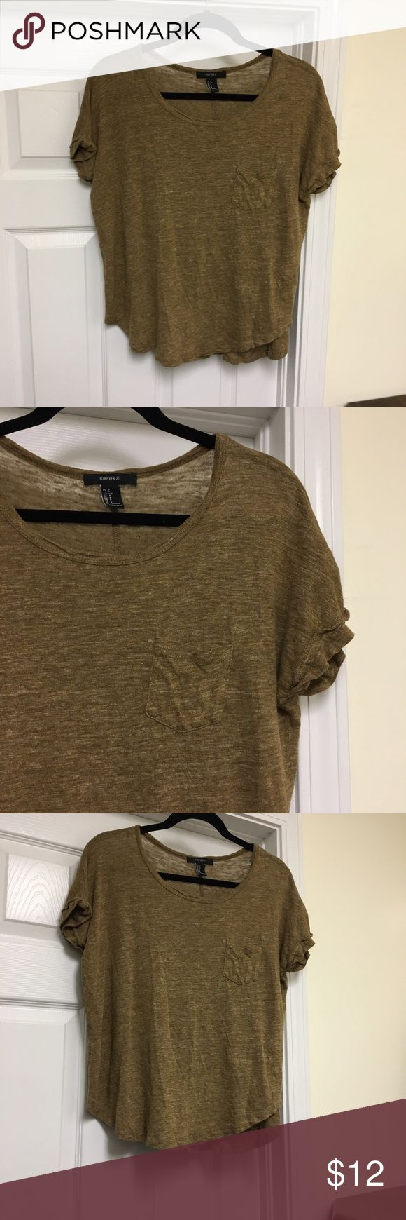 Rustic Brown Top Rustic looking brown short sleeve top from Forever 21. Size small. Fits loosely. Excellent condition Forever 21 Tops Tees - Short Sleeve