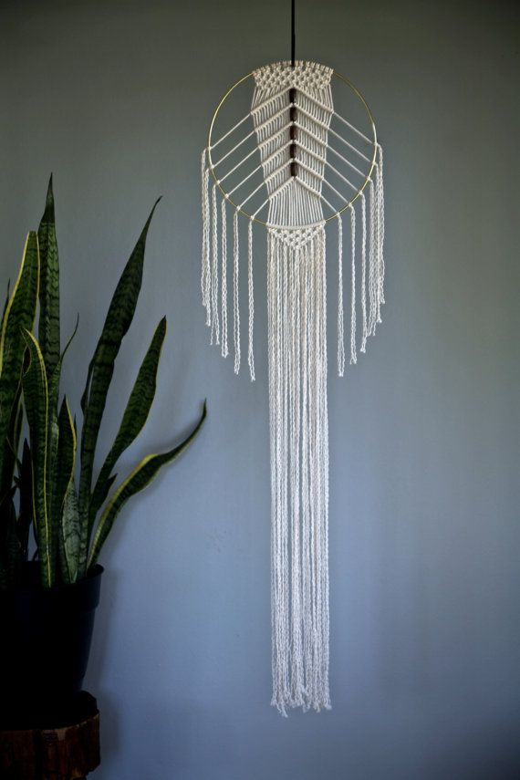 """Macrame Wall Hanging - 50"""" Natural White Cotton Rope & 12"""" Brass Ring w/ Wooden Beads - MADE TO ORDER"""