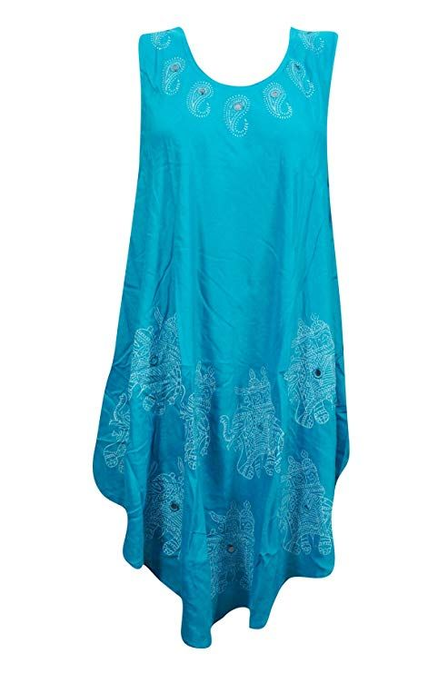 3068b51f551 Mogul Womens Caftan Dresses Elephant Printed Sleeveless Beach Dress M  (Blue-1)