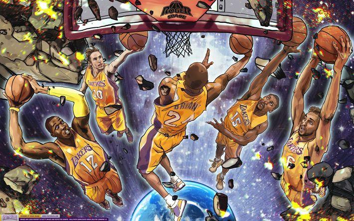 Download wallpapers Los Angeles Lakers, art, NBA, LA Lakers, basketball, Kobe Bryant, Vander Blue, Thomas Robinson, Tyler Ennis, Pau Gasol