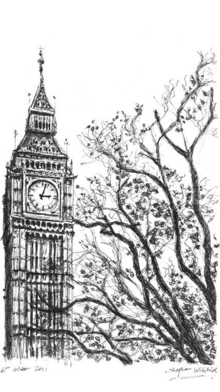 Черно-белые картинки лондона для распечатки