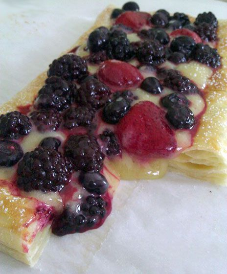 GINGER LEMON BERRY TART  Crust  1 sheet frozen puff pastry, thawed  1 egg, beaten  1 tbsp. sugar    Filling  1/2 cup sugar  1/4 cup fresh lemon juice  1 tsp. grated lemon peel  1/4 cup heavy whipping cream  3 egg yolks  2 tsp. finely chopped crystallized ginger    Topping  2 cups mixed berries, fresh (frozen not recommended)  Powdered sugar