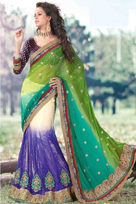 Multicolor Lehenga Style Saree