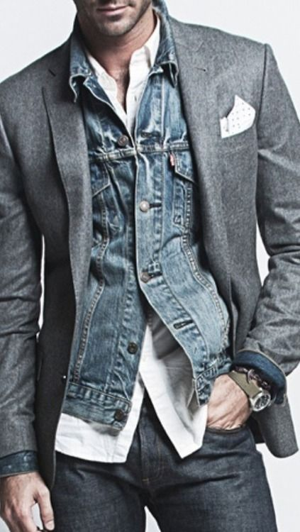 Don't be afraid of unconventional layering.  Juxtaposing the casual edge of denim with the classic sophistication of a blazer creates a really interesting look with a cool vibe.