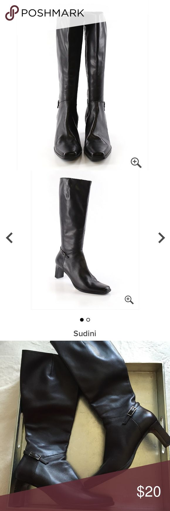 Sudini chocolate brown leather boots Gorgeous rich chocolate brown leather, with zip on inside and 4 slit stretch panel for comfort these boots are like new worn once Sudini Shoes Heeled Boots
