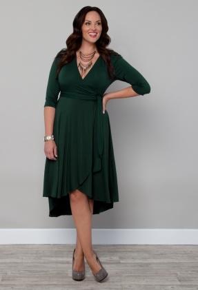 a76ebc8b027b2 Kiyonna Clothing  Winona Hi-Lo Wrap Dress Loving the hunter greem!