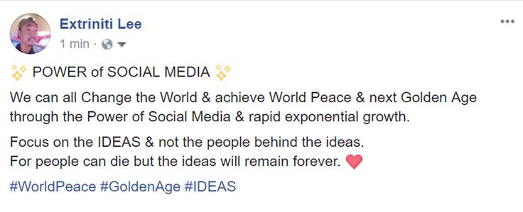 ✨ POWER of SOCIAL MEDIA ✨ We can all Change the World & achieve World Peace & next Golden Age through the Power of Social Media & rapid exponential growth. Focus on the IDEAS & not the people behind the ideas. For people can die but the ideas will remain forever. ❤️ #WorldPeace #GoldenAge #IDEAS