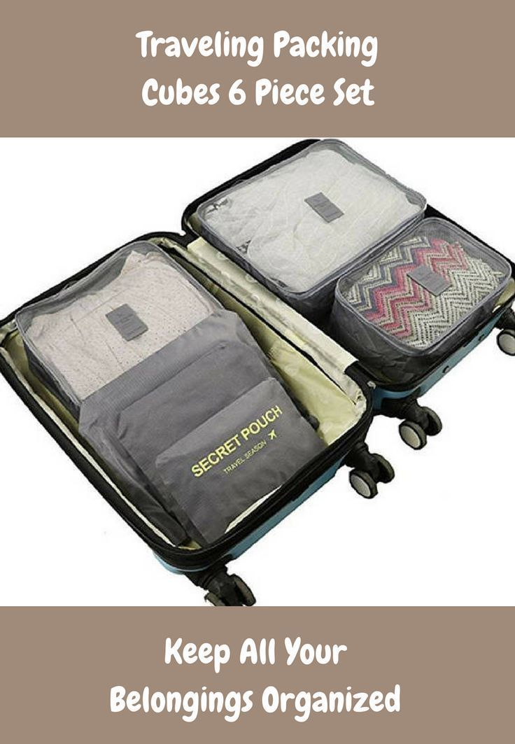 Packing Cubes 6 Piece Set for Travel Carry On Luggage Compressible Organizer