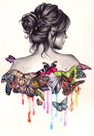 Tumblr Sketch Color Butterfly Art Pinterest Topmodel