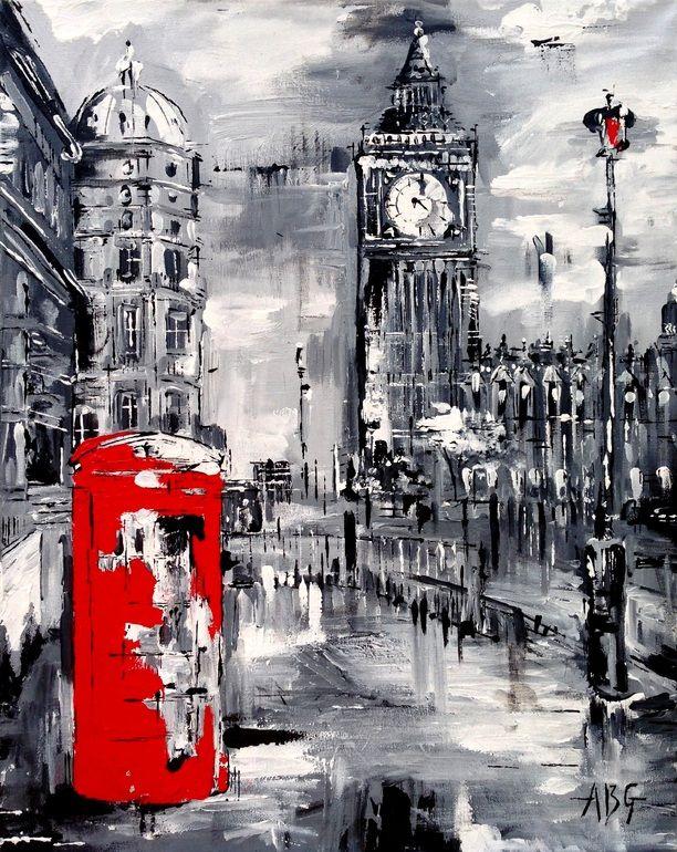 "Saatchi Art Artist: Anna Gammans; Acrylic 2013 Painting ""SOLD Red Telephone Box """