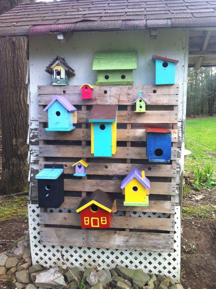 Cute Painted Sheds Painted Bird House Attached To Wooden