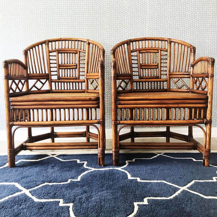 Vintage Bamboo and Cane Armchairs - A Pair