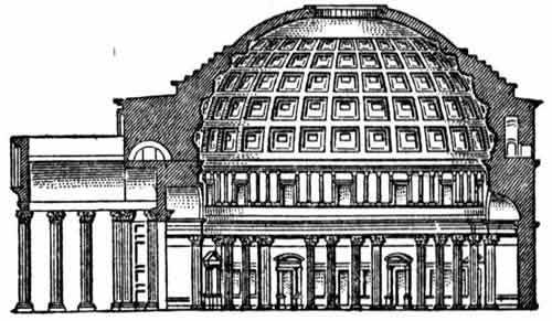 The Romans based much of their architecture on the domes. Domes permitted the construction of vaulted ceilings, and could cover large public spaces. The Pantheon in Rome has a concrete dome with an oculus opening to the sky. The light from the oculus moves around this space in a sort of reverse sundial effect. The oculus also serves as a cooling and ventilation method. During storms, a drainage system below the floor handles the rain that falls through the oculus.