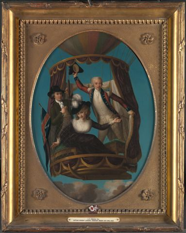 John Francis Rigaud, 1742–1810, French, active in Britain (from 1771), Captain Vincenzo Lunardi with his Assistant George Biggin, and Mrs. Letitia Anne Sage, in a Balloon, 1785, Oil on copper, Yale Center for British Art, Paul Mellon Collection