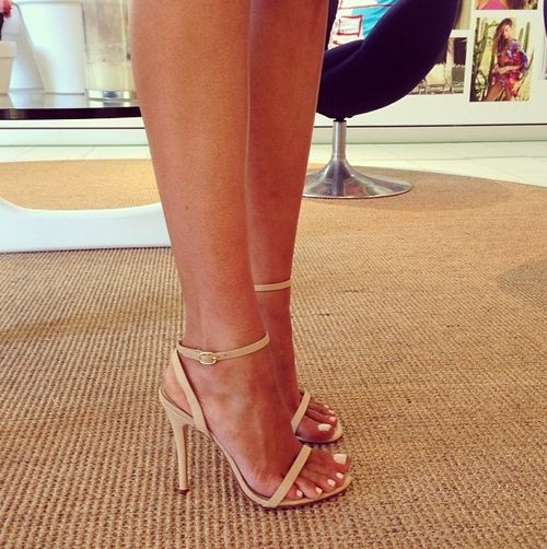 """love nude strappy heels just don't want to be 6'1+ in em..need these in a 2"""" heel"""