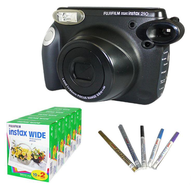 Fujifilm Instax 210 Wide Camera Black Instant Fuji Polaroid + 100 Film + Pen