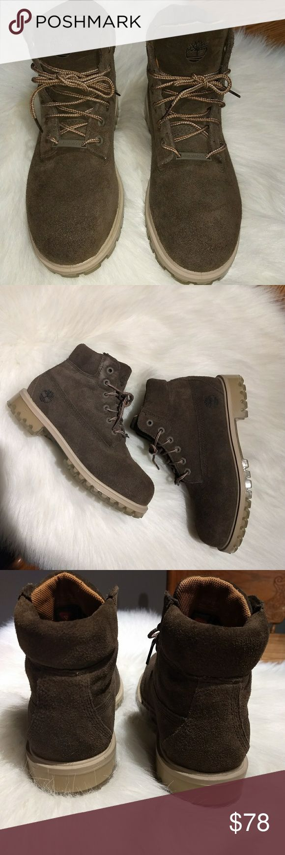 NWOT//Boy's Timberland Waterproof Boots NWOT  Boy's Timberland Waterproof Boots Suede material Olive Green/Tan in color Clear Soles Shoe tag says: US Size 3, UK 2.5 I do not have original box  No trades Reasonable offers welcomed 10% off 2+bundles  Please read description, see all pics and ask questions before purchasing Timberland Shoes Boots