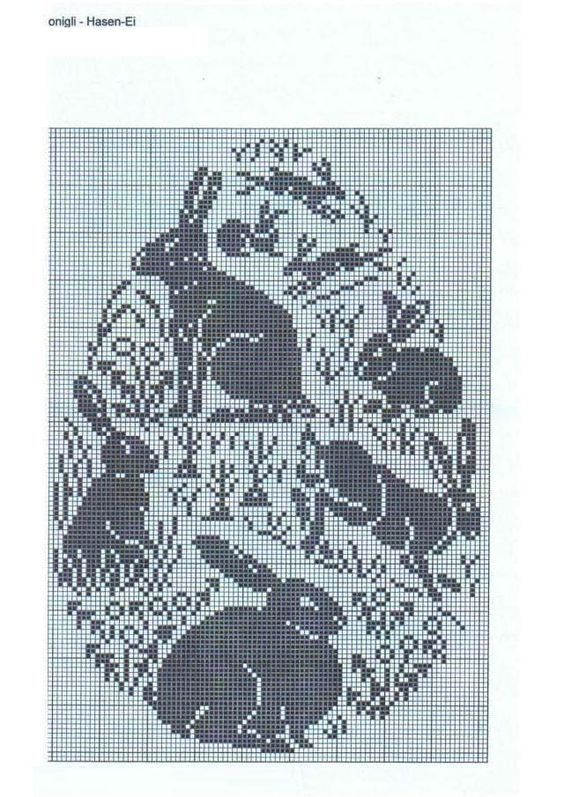 Easter inspired filet crochet chart:
