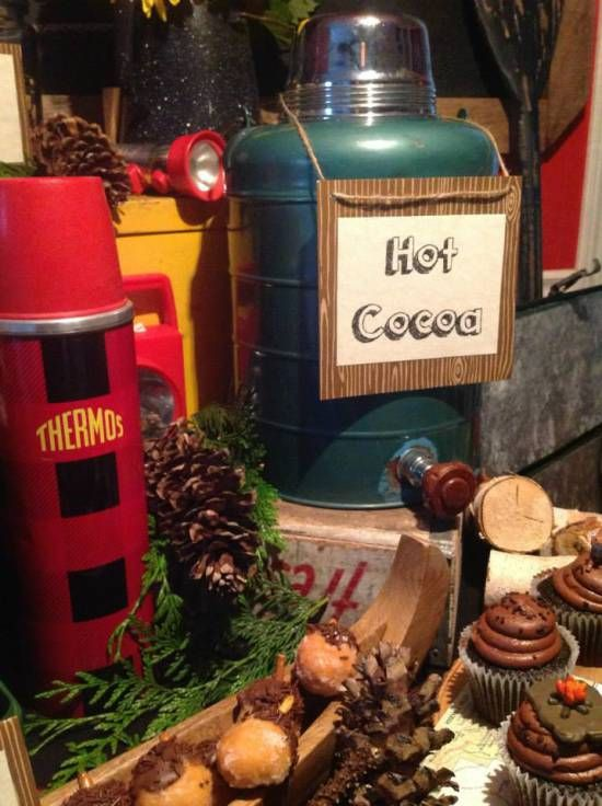 Camping Themed Bridal Shower, hot cocoa
