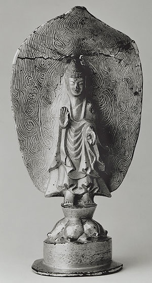 Standing Buddha, Three Kingdoms period, Goguryeo kingdom (37 B.C.–668 A.D.), dated kimi year (539) From Uiryong, South Gyongsang Province Gilt bronze, H. 6 3/8 in. (16.3 cm) The National Museum of Korea, Seoul National Treasure no. 119 - Earliest known statue, has 2 liones that relate to the origin of the Buddha who was a prince ( lion symbolize his royal statue). in meditating gesture.
